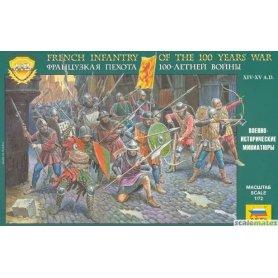 Zvezda French Infantry of 100 Years War – 14th-15th Century – zestaw zawiera 43 figurki w 12 różnych pozach