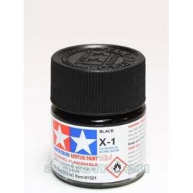 Tamiya X-1 Acrylic paint BLACK GLOSS - 10ml