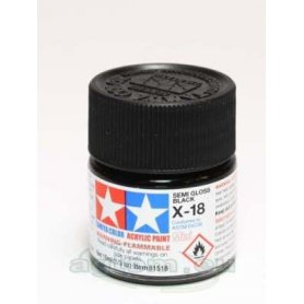 Tamiya X-18 Acrylic paint SEMI GLOSS BLACK - 10ml