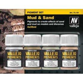 Vallejo 73191 Zestaw Pigmenty 4 - Mud & Sand