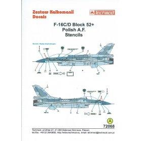 Techmod 1:72 Kalkomanie do F-16 C/D Block 52+ STENCILS