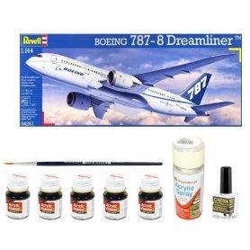 Revell 1:144 Boeing 787-8 Dreamliner | Model do sklejania + farby + klej + pędzelki