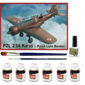 IBG 1:72 PZL 23A Karaś | Model do sklejania + farby + klej + pędzelki