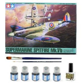 Tamiya 1:48 Supermarine Spitfire Mk.Vb | Model do sklejania + farby + klej + pędzelki