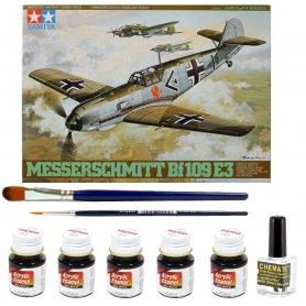 ZESTAW Tamiya 1:48 Messerschmitt Bf-109 E-3 | Model do sklejania + farby + klej + pędzelki