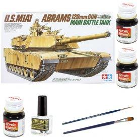 ZESTAW Tamiya 1:35 M1A1 Abrams | Model do sklejania + farby + klej + pędzelki