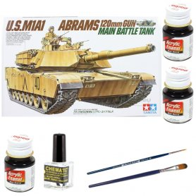 Tamiya 1:35 M1A1 Abrams | Model do sklejania + farby + klej + pędzelki