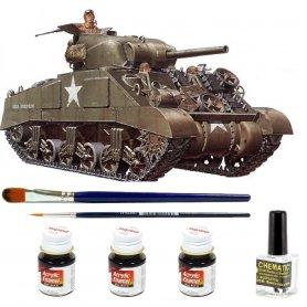 ZESTAW Tamiya 1:35 M4 Sherman | Model do sklejania + farby + klej + pędzelki