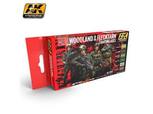 AK Interactive AK-3250 ZESTAW Figure Series / Woodland and Flecktarn Uniform Colors