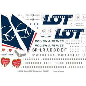 Kalkomanie 1:144 Boeing 787-8 Dreamliner PLL LOT