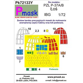 Pmask 1:72 Maski do PZL P.37A / B Łoś dla IBG