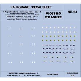 Weikert 1:35 Kalkomanie Mundury polskie - patki, naramienniki, insygnia na czapki i hełmy - cześć 5 - vol.64