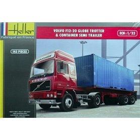 Heller 81702 Volvo F12-20 Globetrotter& kontenerem