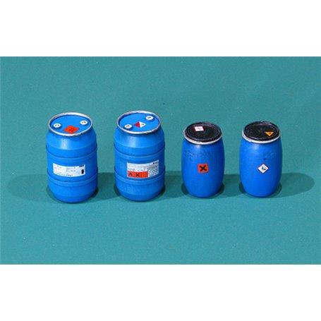 Plastic chemical storage drums Set1