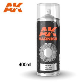 AK Interactive Gloss Varnish - Spray 400ml (Includes 2