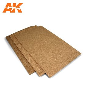 AK Interactive Cork Sheet 200x300x 3mm coarse