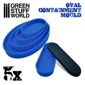 Green Stuff World 5x Containment Moulds for Bases – Oval