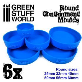 Green Stuff World CONTAINMENT MOULDS FOR BASES - ROUND - 6szt.