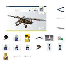 Zestaw Startowy Samolot PZL P-11c - model do sklejania w skali 1:72