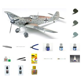 Zestaw Startowy Samolot Messerchmitt Bf-109 E3 - model do sklejania w skali 1:48