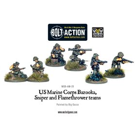 Bolt Action USMC Bazooka, Sniper & Flame Thrower Teams