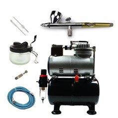 Aerograf i kompresor - zestaw AirCobra 0,3mm + akcesoria