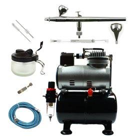 Aerograf i kompresor - zestaw Ultra 2w1 + akcesoria