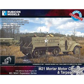 Rubicon Models 1:56 Zestaw dodatków M3 / M3A1 EXPANSION SET - M21 MORTAR MOTOR CARRIAGE AND TARPAULIN SET