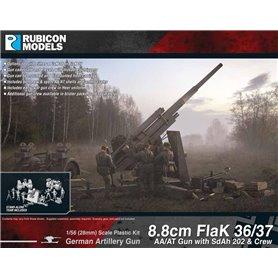 Rubicon Models 1:56 88mm FlaK.36/37 - AA/AT GUN WITH SD.AH.202 AND CREW - GERMAN ARTILLERY GUN