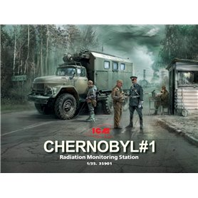 ICM 35901 Chernobyl 1 Radiation monitoring station (ZiL-131KShM truck & 5 figures & diorama base with background) 1/35