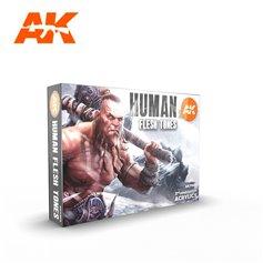 AK Interactive 11603 Zestaw farb HUMAN FLESH TONES - 3RD GENERATION ACRYLICS