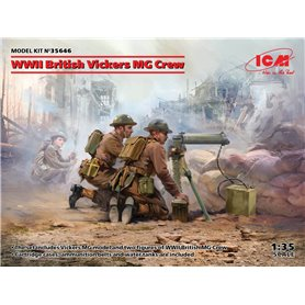 ICM 36646 WWII British Vickers MG Crew (Vickers MG & 2 figures)