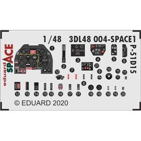 Eduard SPACE 1:48 Panele przyrządów do North American P-51D-15+ dla Eduard