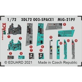 Eduard SPACE 1:72 Panele przyrządów do MiG-21PF SPACE