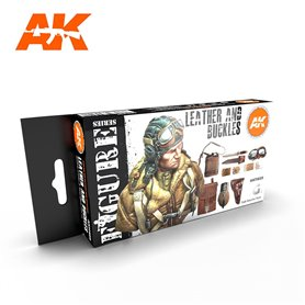 AK Interactive Zestaw farb LEATHER AND BUCKLES 3G
