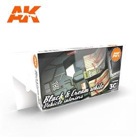 AK Interactive Zestaw farb BLACK INTERIOR AND CREAM WHITE