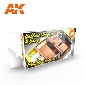 AK Interactive Zestaw farb GREY YELLOW BROWN INTERIORS