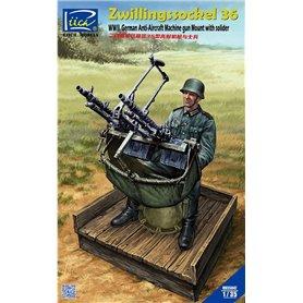Riich RV35047 WWII German Zwillingssockel 36 Anti-Arcraft MG Mount w.soldier