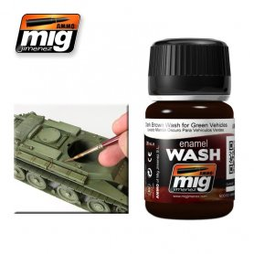 Ammo of MIG Enamel Wash DARK BROWN WASH FOR GREEN VEHICLES