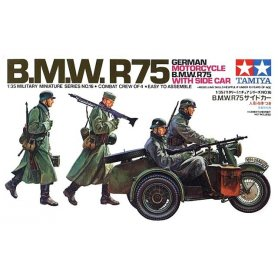 Tamiya 1:35 German motorcycle w/side car BMW R75 | 4 figurines |