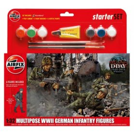 Airfix 1:32 German infantry / WWII   Starter Set   w/paints   6 figurines  