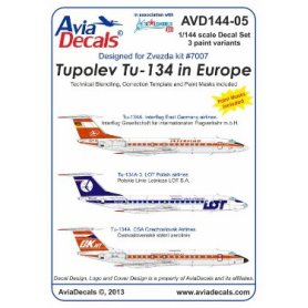 AVIA DECALS 144-05 Tupolev Tu-134 in Europe
