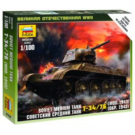 Zvezda 6159 1/100 Soviet med. Tank T-34/76