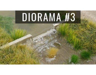 Diorama część 3: Wodospad, piana i roślinność. Mata trawiasta oraz kępki